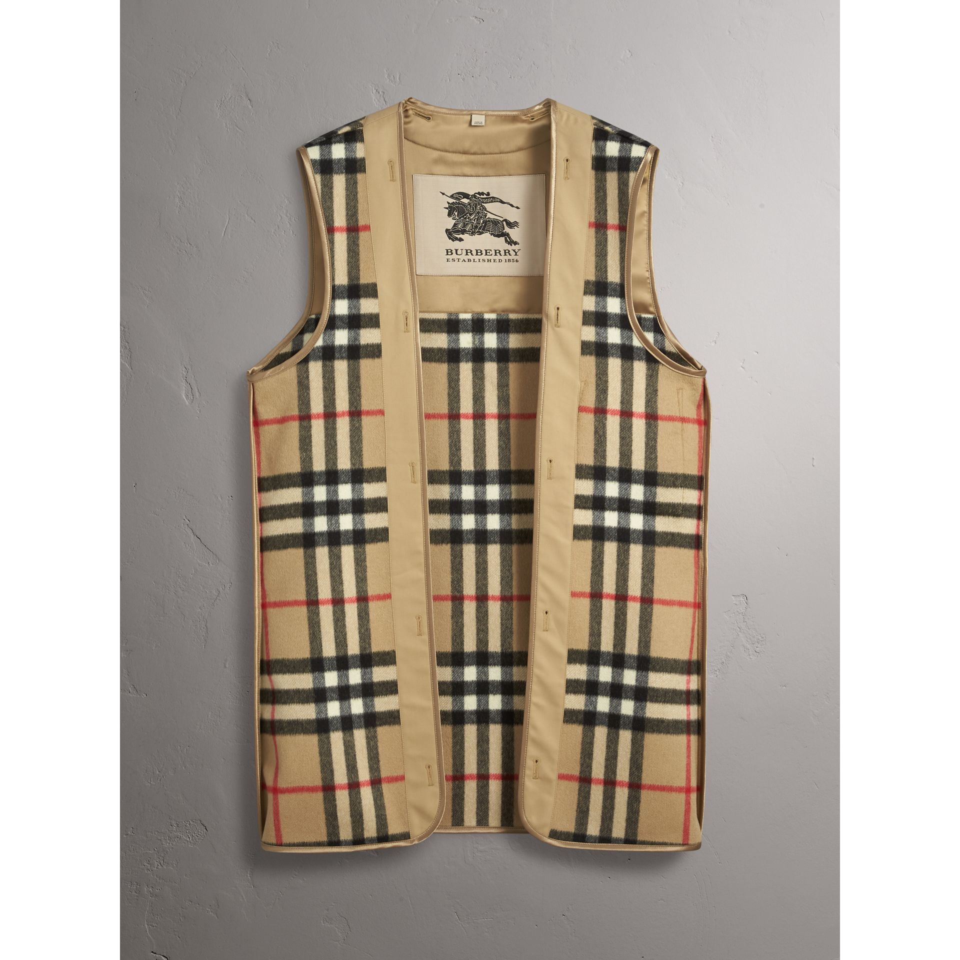 Sandringham Fit House Check Cashmere Wool Warmer in Camel - Men | Burberry - gallery image 2