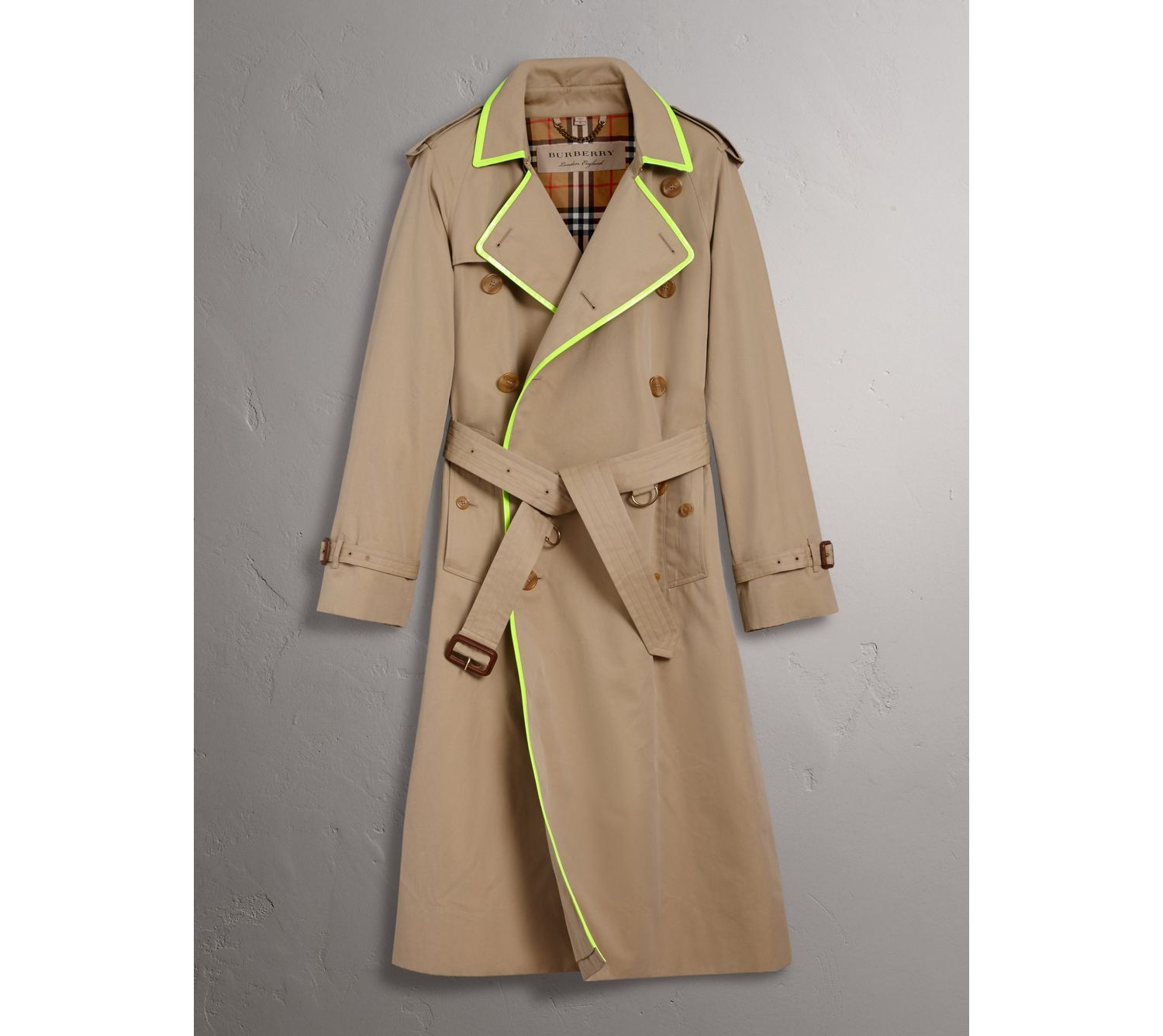 Tape Detail Cotton Gabardine Trench Coat in Honey