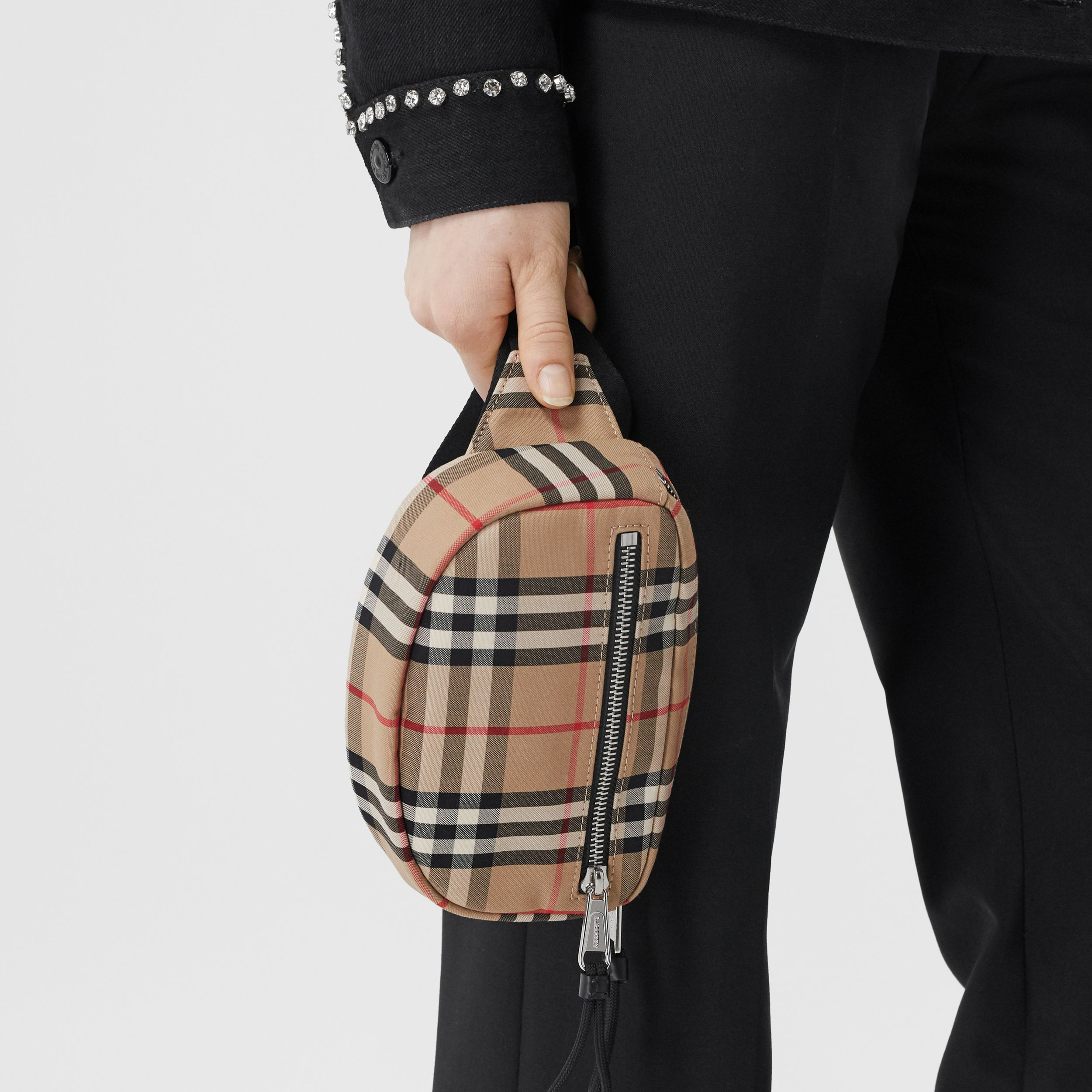 Small Vintage Check Cannon Bum Bag in Archive Beige | Burberry - 3