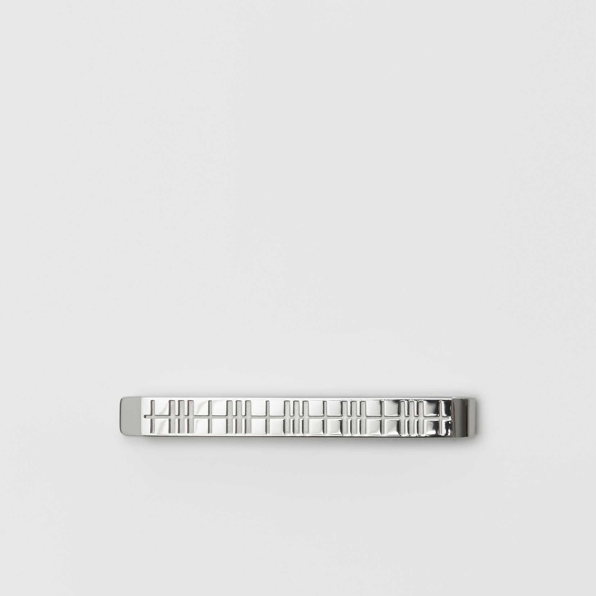 Check-engraved Tie Bar in Silver - Men | Burberry United Kingdom - gallery image 0