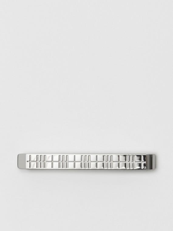 Krawattennadel mit Karogravur (Silberfarben)