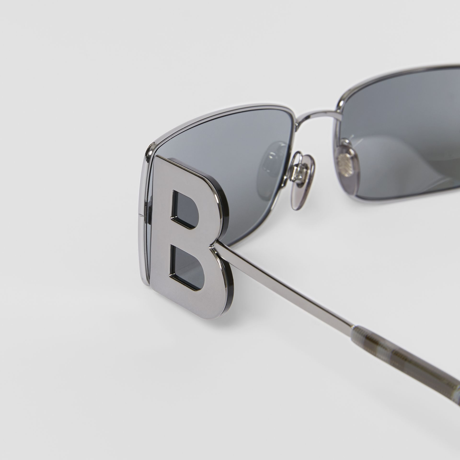 'B' Lens Detail Rectangular Frame Sunglasses in Gunmetal Grey | Burberry - gallery image 1