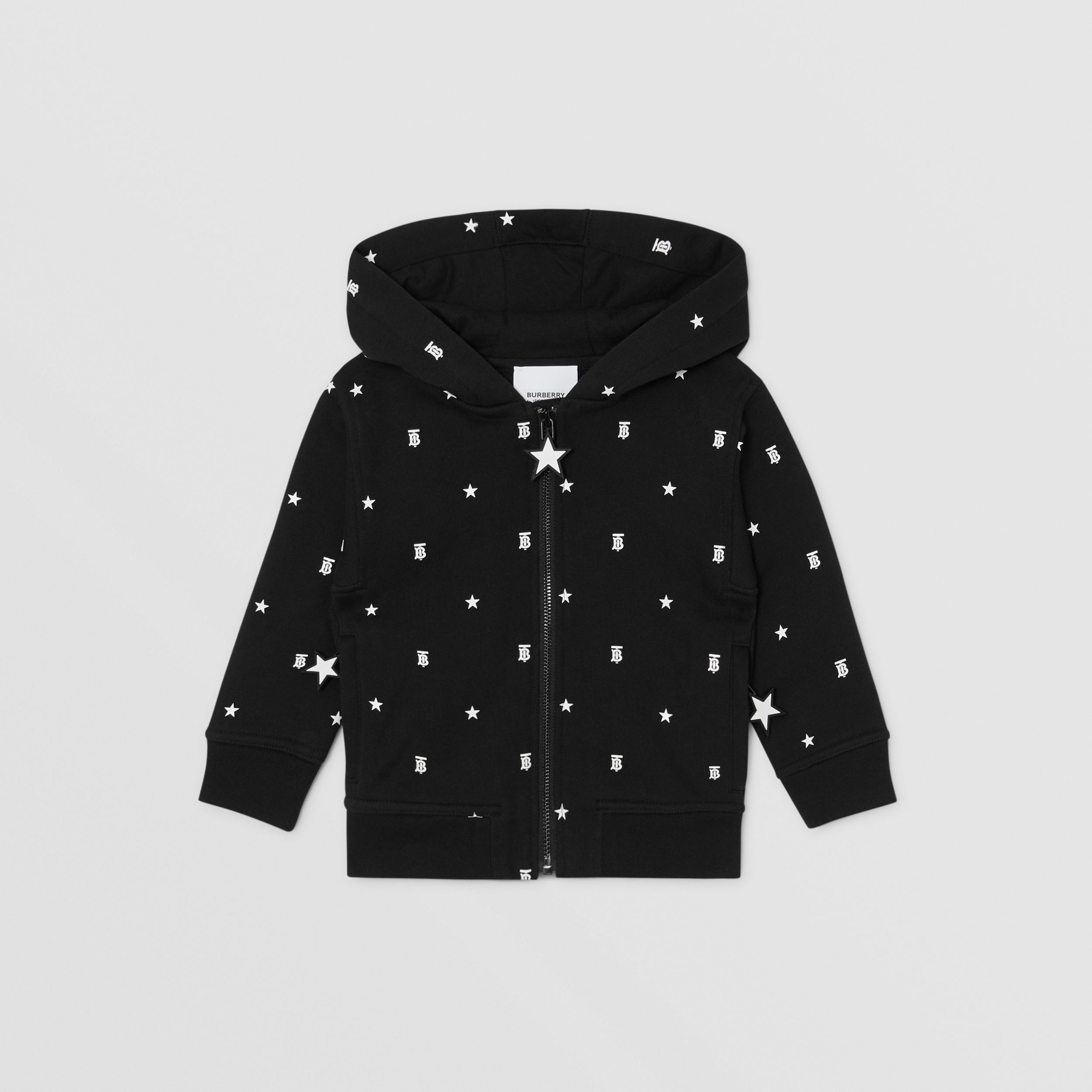 Star and Monogram Motif Cotton Hooded Top in Black - Children | Burberry - 1