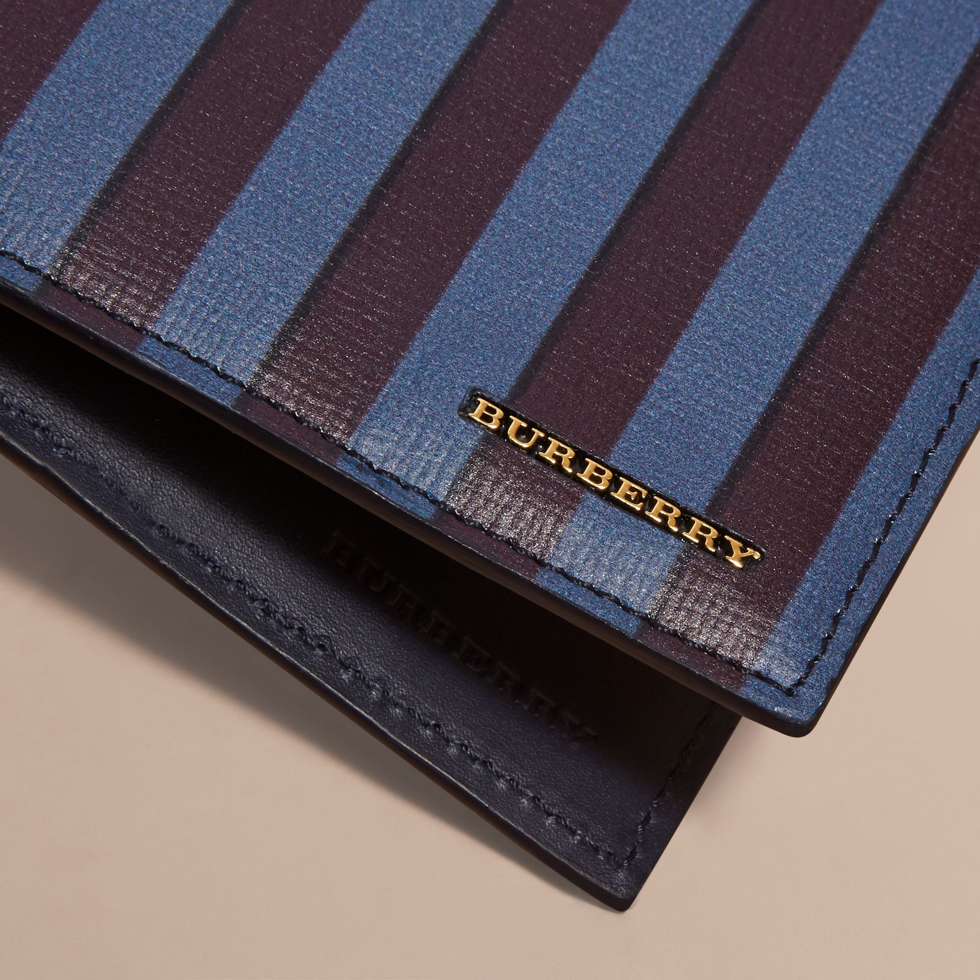 Pyjama Stripe London Leather Folding Wallet - gallery image 2