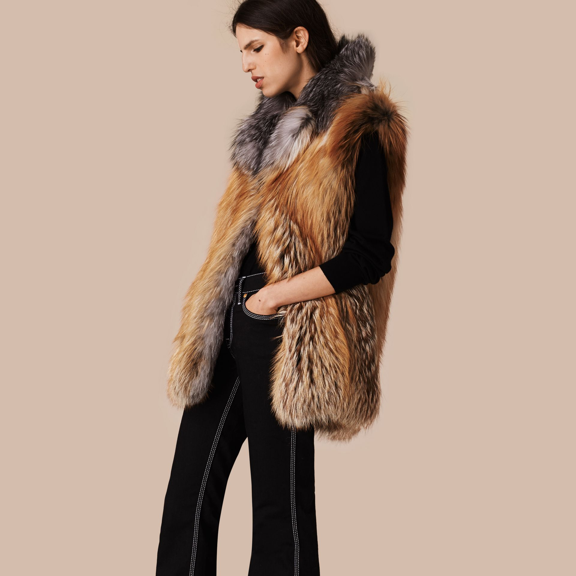 Bright toffee Fox Fur Gilet - gallery image 1