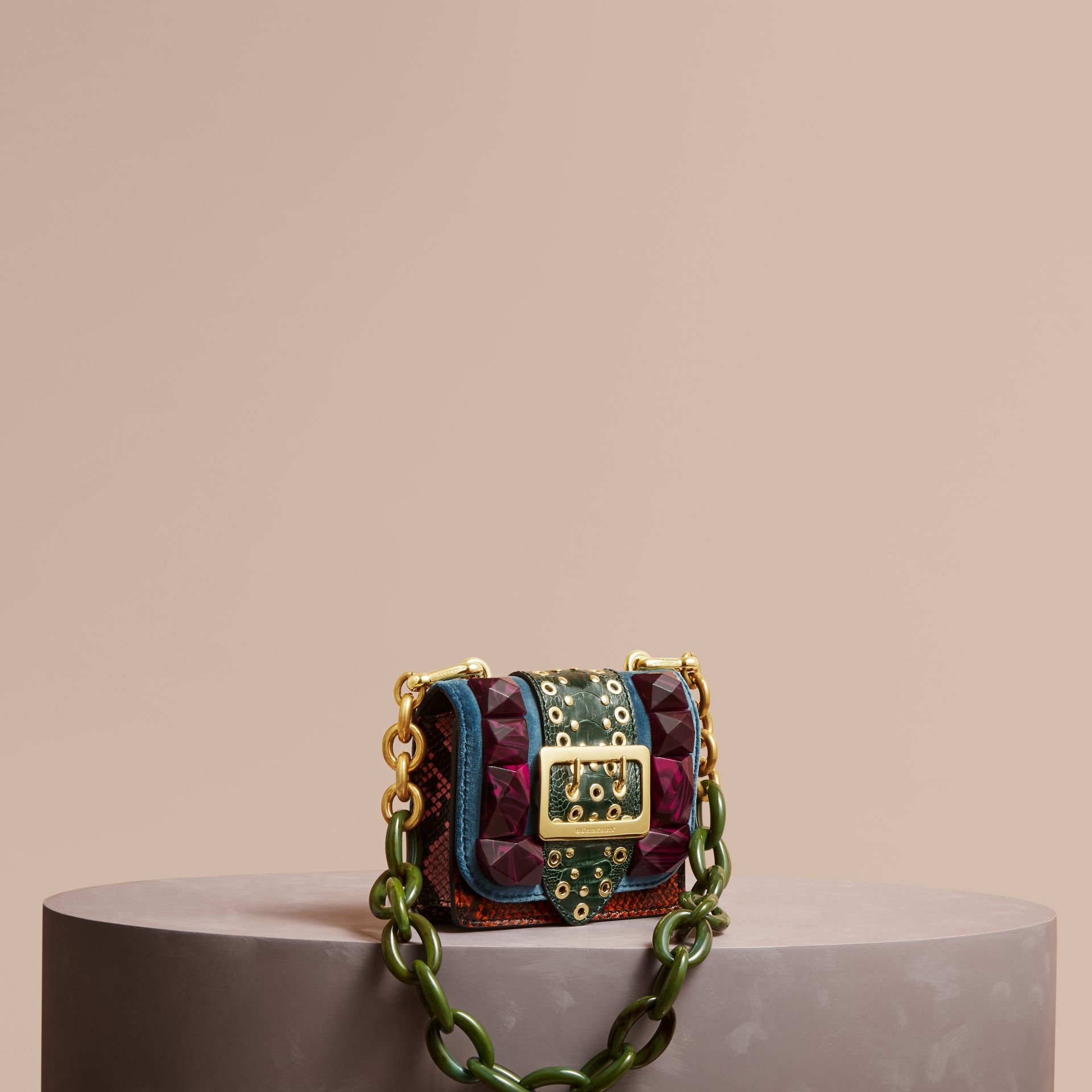The Mini Square Buckle Bag in Velvet and Ostrich - Women | Burberry - gallery image 1