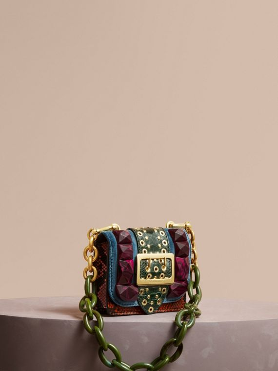 The Mini Square Buckle Bag in Velvet and Ostrich