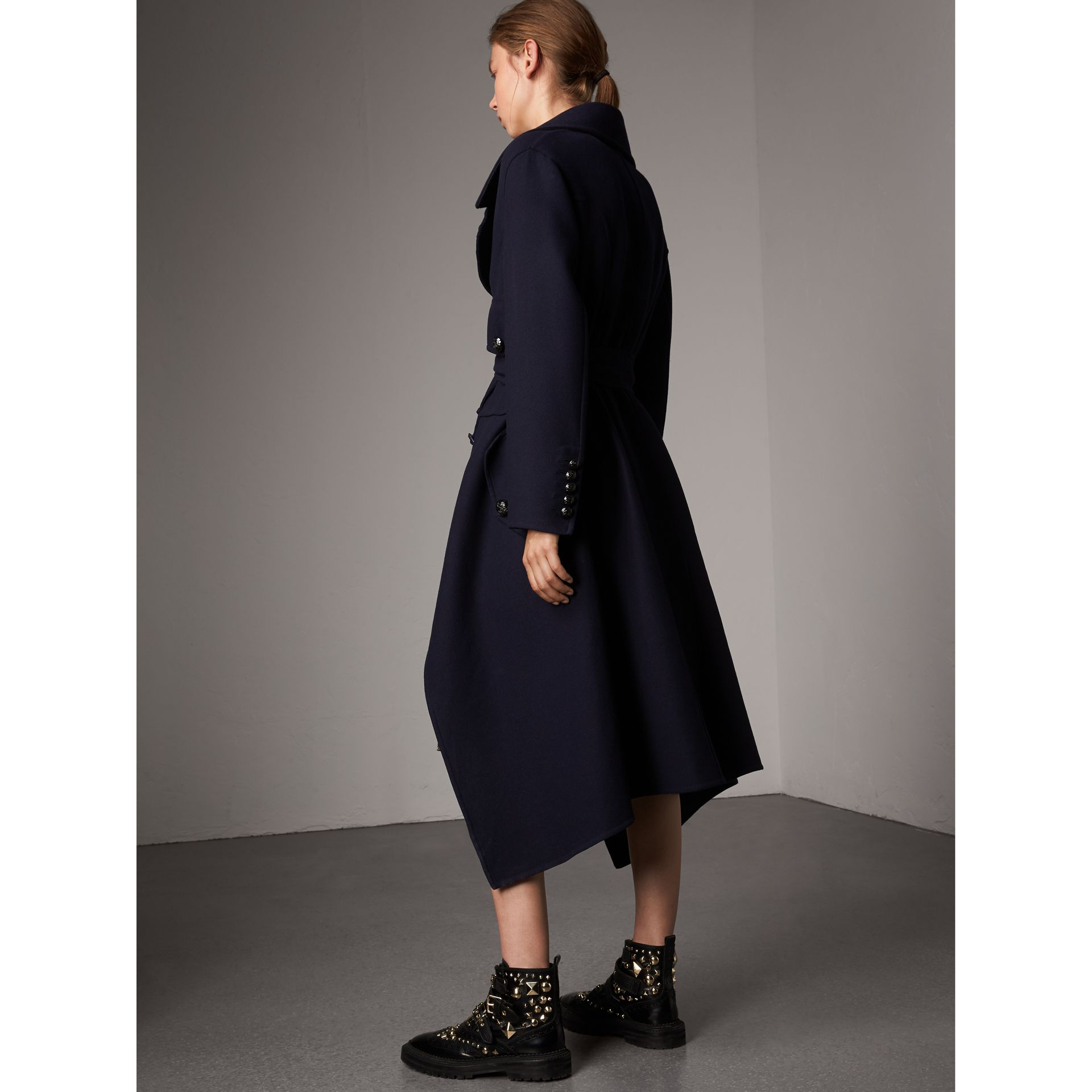 Double-faced Wool Cashmere Wrap Coat in Navy - Women | Burberry Australia - gallery image 3