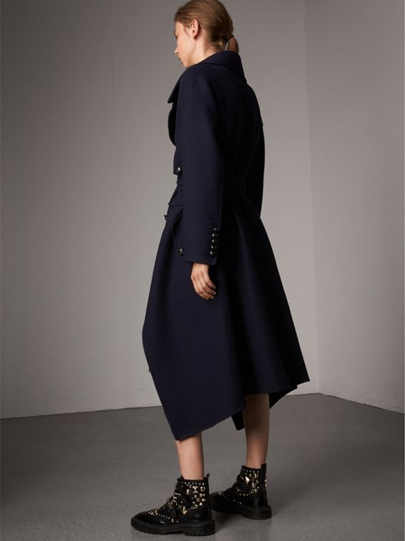 Double-faced Wool Cashmere Wrap Coat in Navy - Women | Burberry Australia - cell image 2