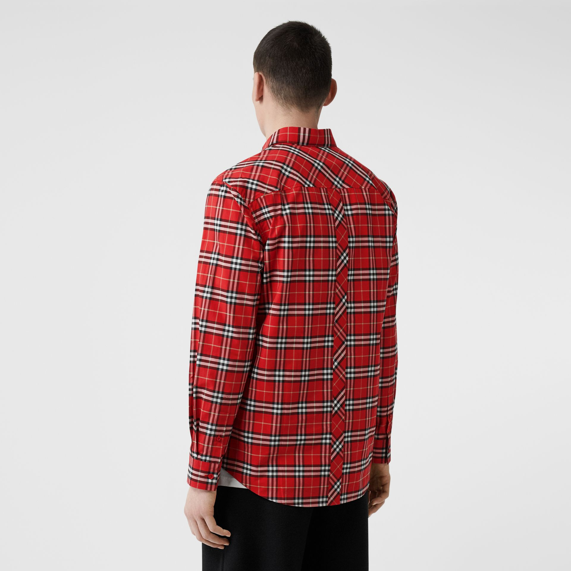 Small Scale Check Stretch Cotton Shirt in Cadmium Red - Men | Burberry Canada - gallery image 2