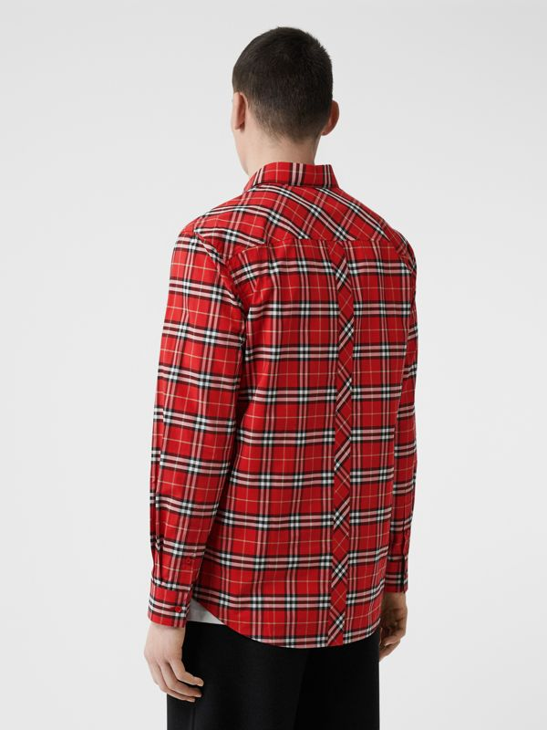 Small Scale Check Stretch Cotton Shirt in Cadmium Red - Men | Burberry - cell image 2