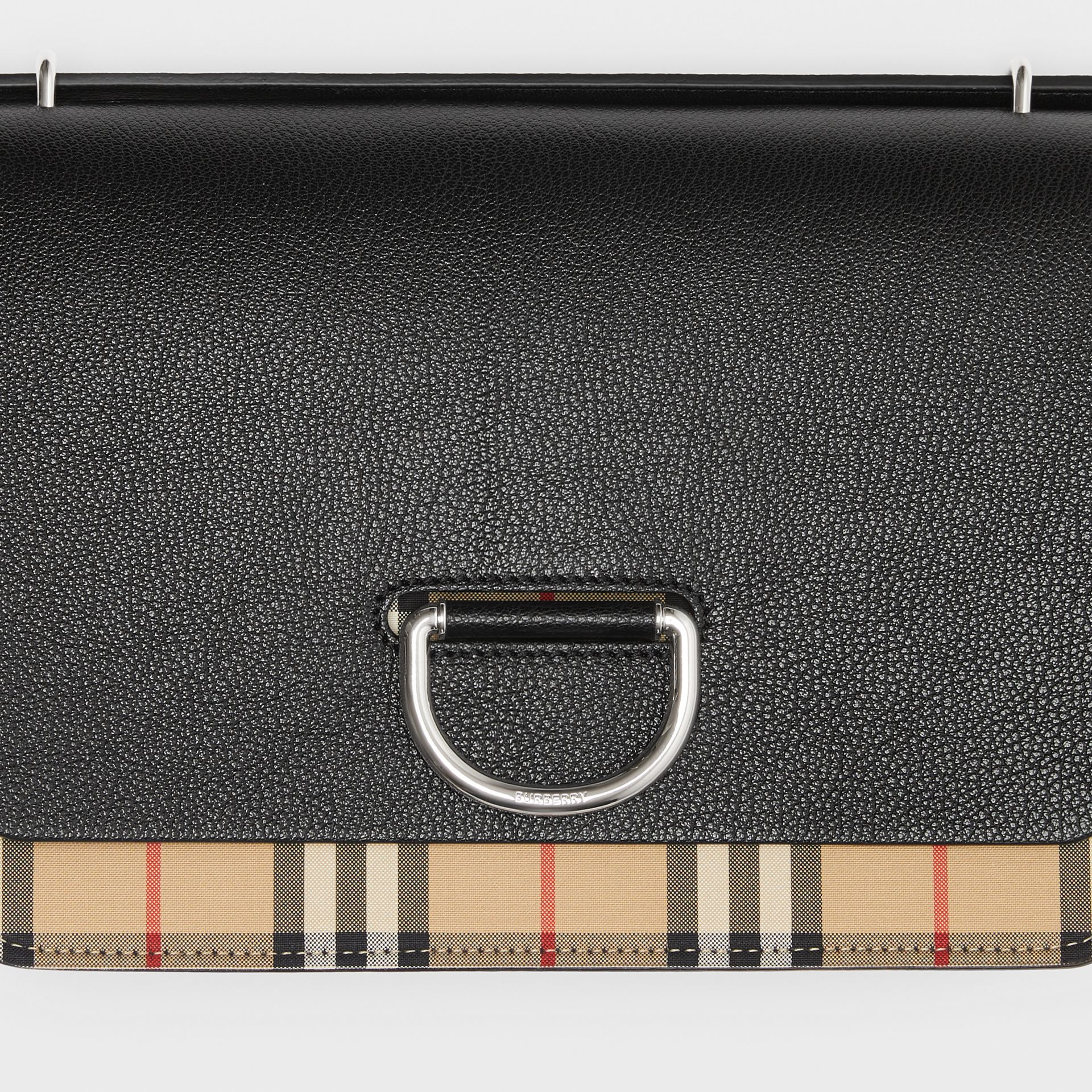The Medium Vintage Check and Leather D-ring Bag in Black - Women | Burberry United States - gallery image 1