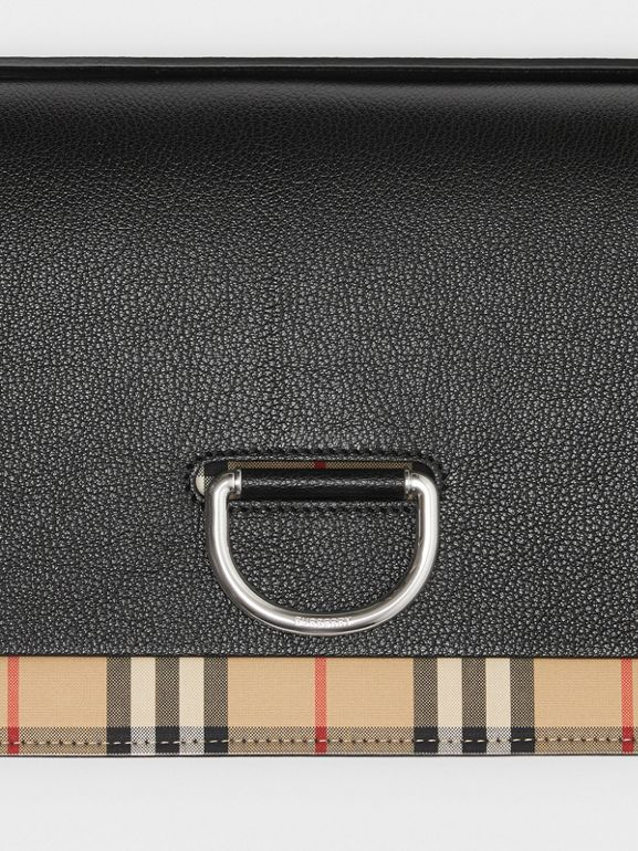 The Medium Vintage Check and Leather D-ring Bag in Black - Women | Burberry United States - cell image 1