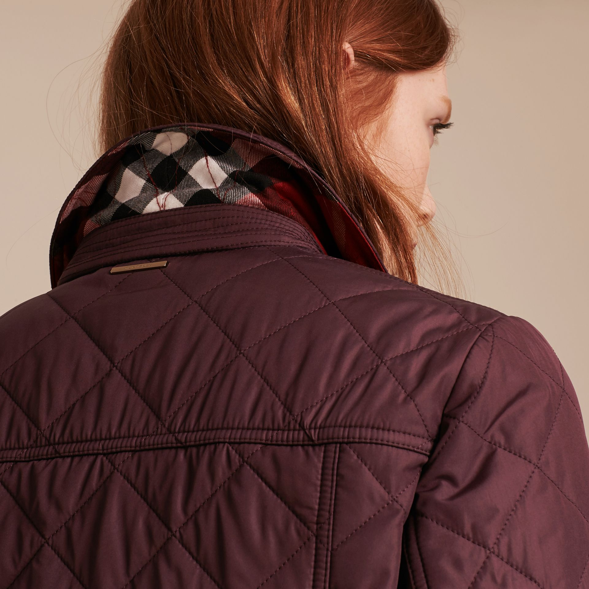 Burgundy Check Detail Diamond Quilted Jacket Burgundy - gallery image 4