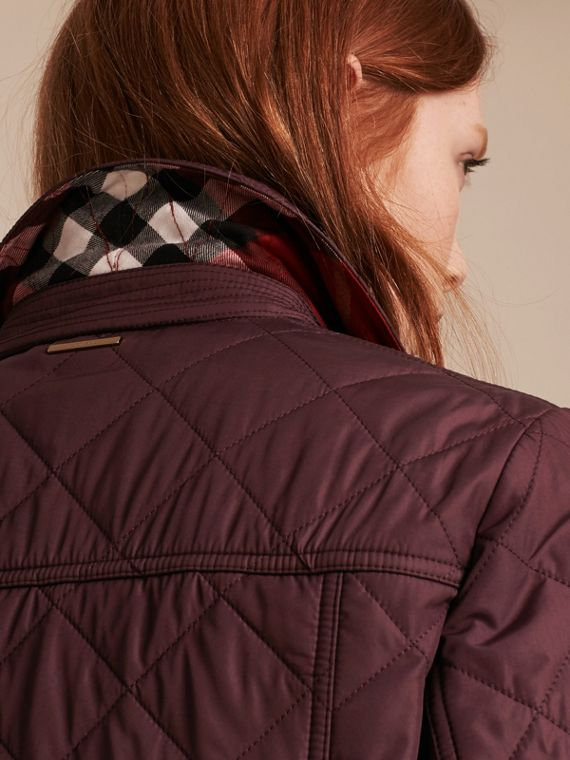 Burgundy Check Lined Diamond Quilted Jacket Burgundy - cell image 3