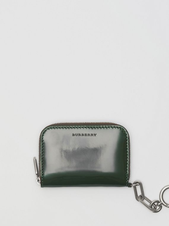 Link Detail Patent Leather Ziparound Wallet in Dark Forest Green