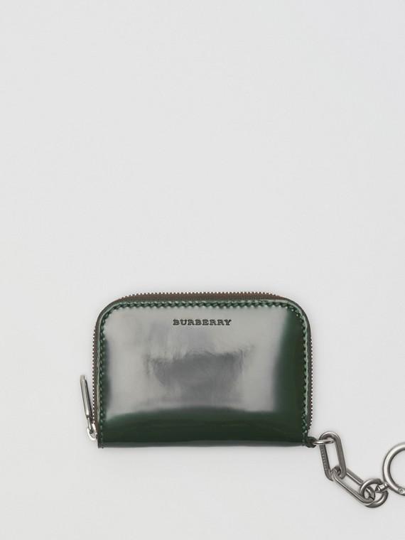 Кожаный бумажник из кожи с цепочкой (Темно-зеленый Лес)