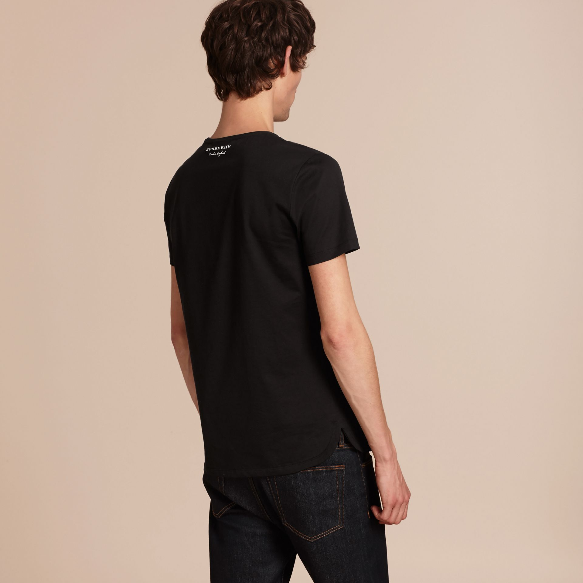 Crew Neck Cotton T-shirt in Black - Men | Burberry - gallery image 3