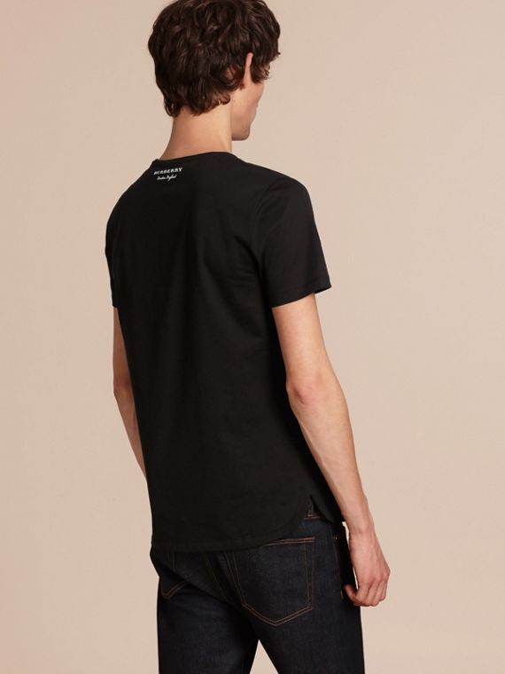 Crew Neck Cotton T-shirt in Black - Men | Burberry - cell image 2