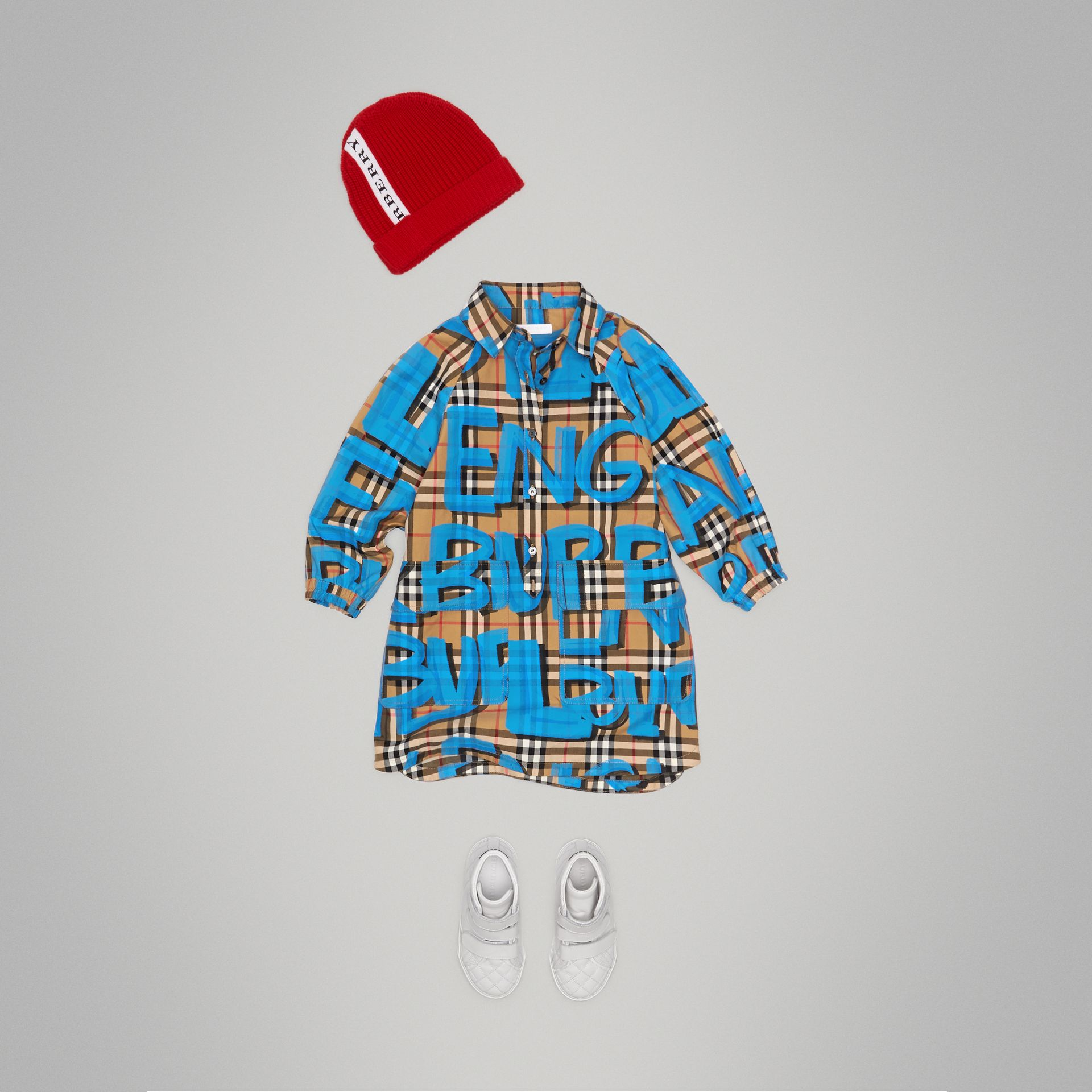 Graffiti Print Vintage Check Cotton Shirt Dress in Bright Blue - Girl | Burberry - gallery image 2