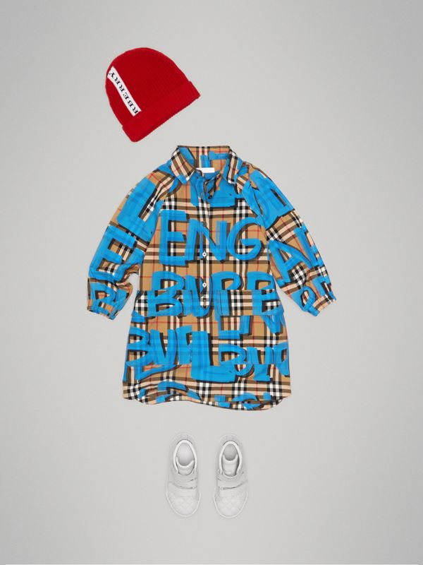Graffiti Print Vintage Check Cotton Shirt Dress in Bright Blue | Burberry - cell image 2