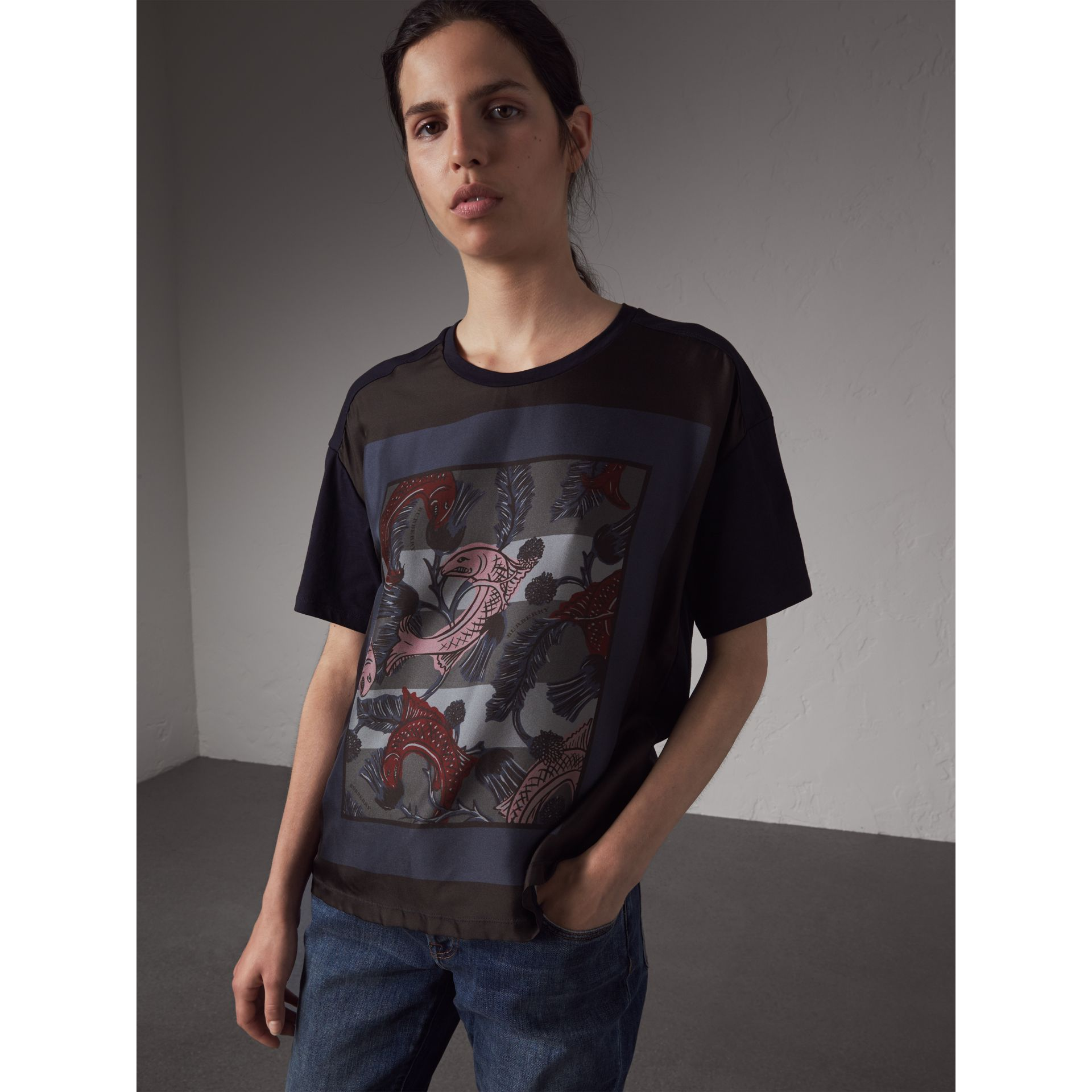 Beasts Print Silk Panel Cotton T-shirt in True Navy - Women | Burberry - gallery image 5
