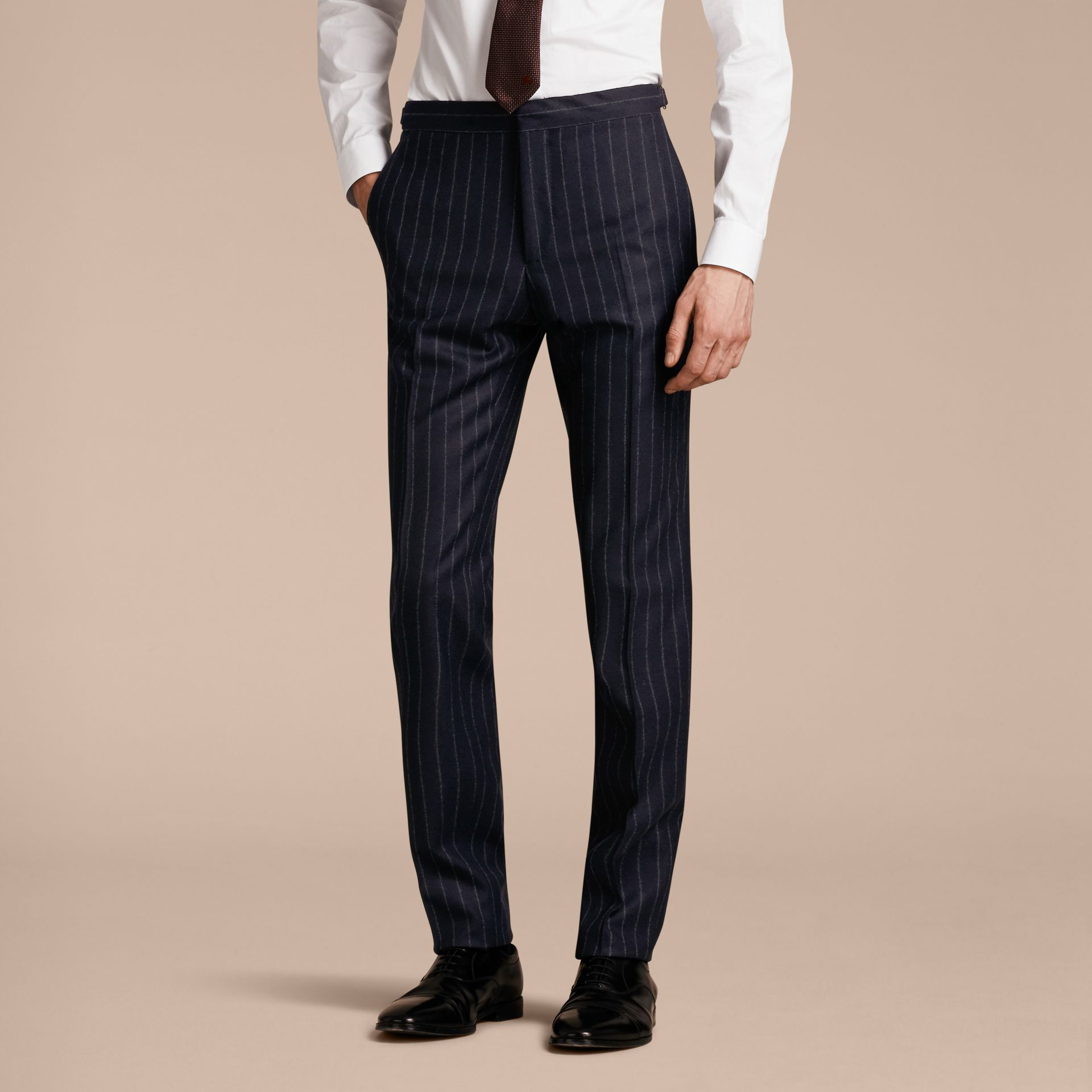 Slim Fit Double-breasted Pinstripe Wool Suit - gallery image 8