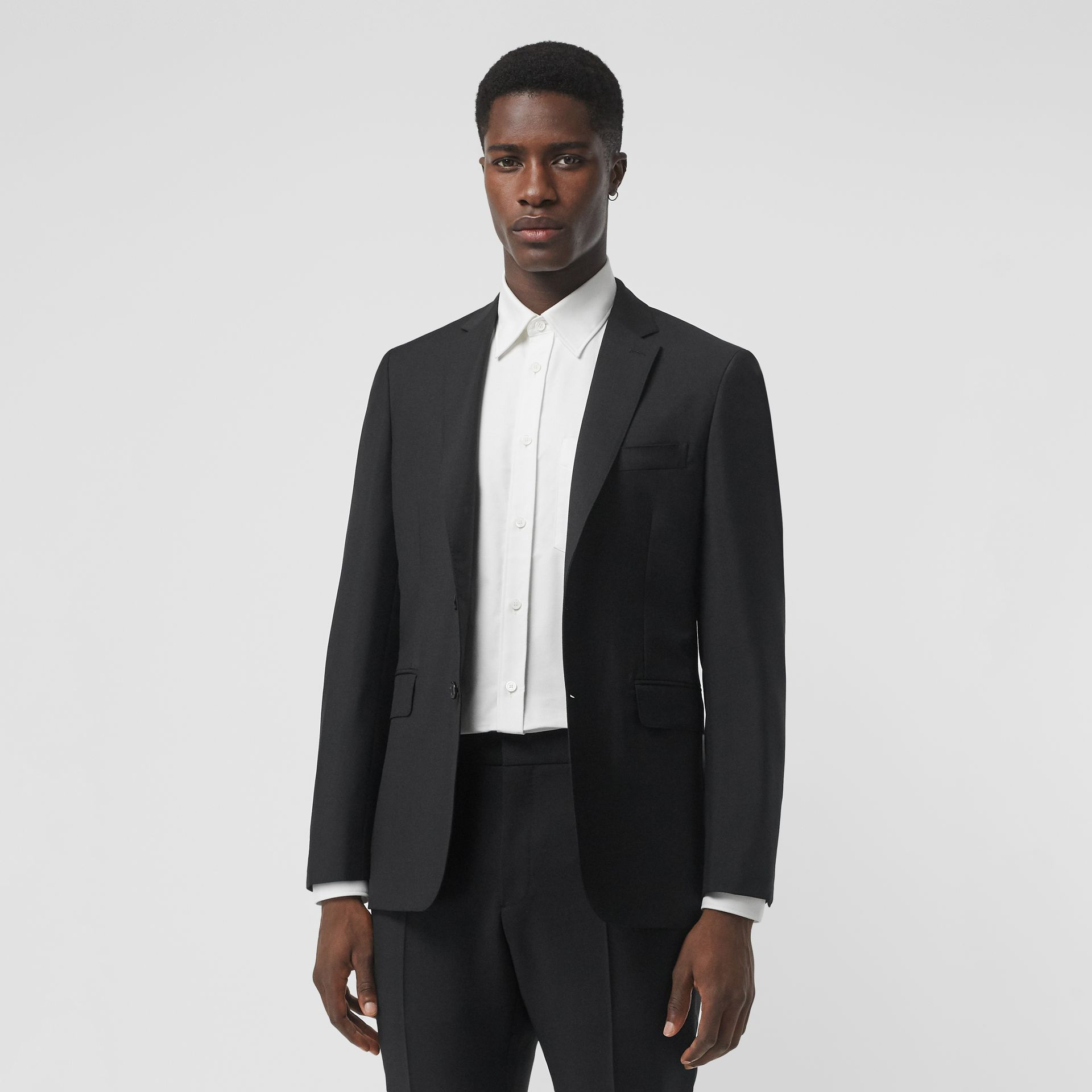 Slim Fit Wool Mohair Tailored Jacket in Black - Men | Burberry - gallery image 0