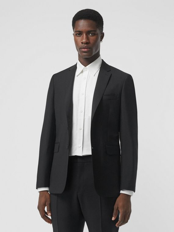 Slim Fit Wool Mohair Tailored Jacket in Black