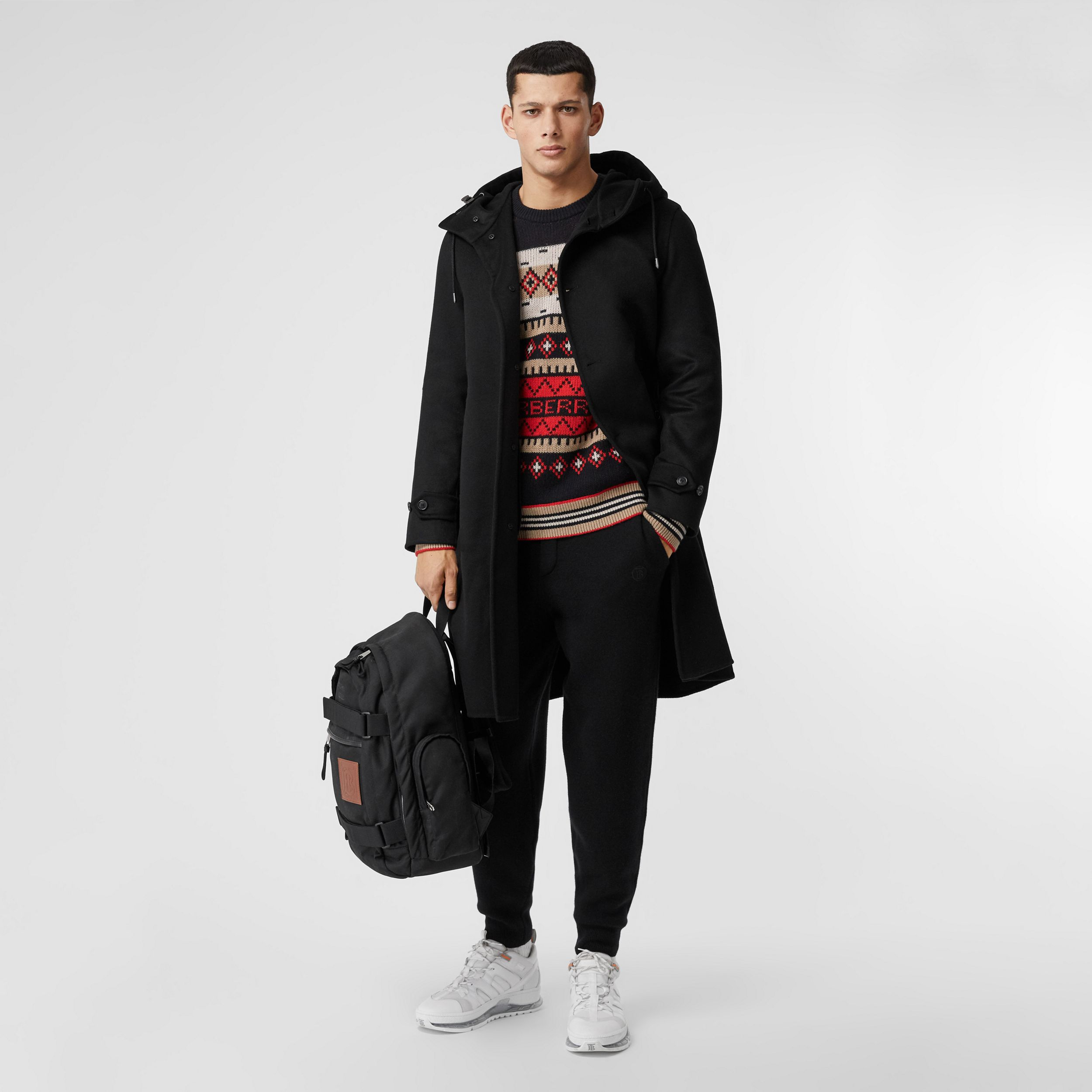 Double-faced Cashmere Hooded Coat in Black - Men | Burberry - 1