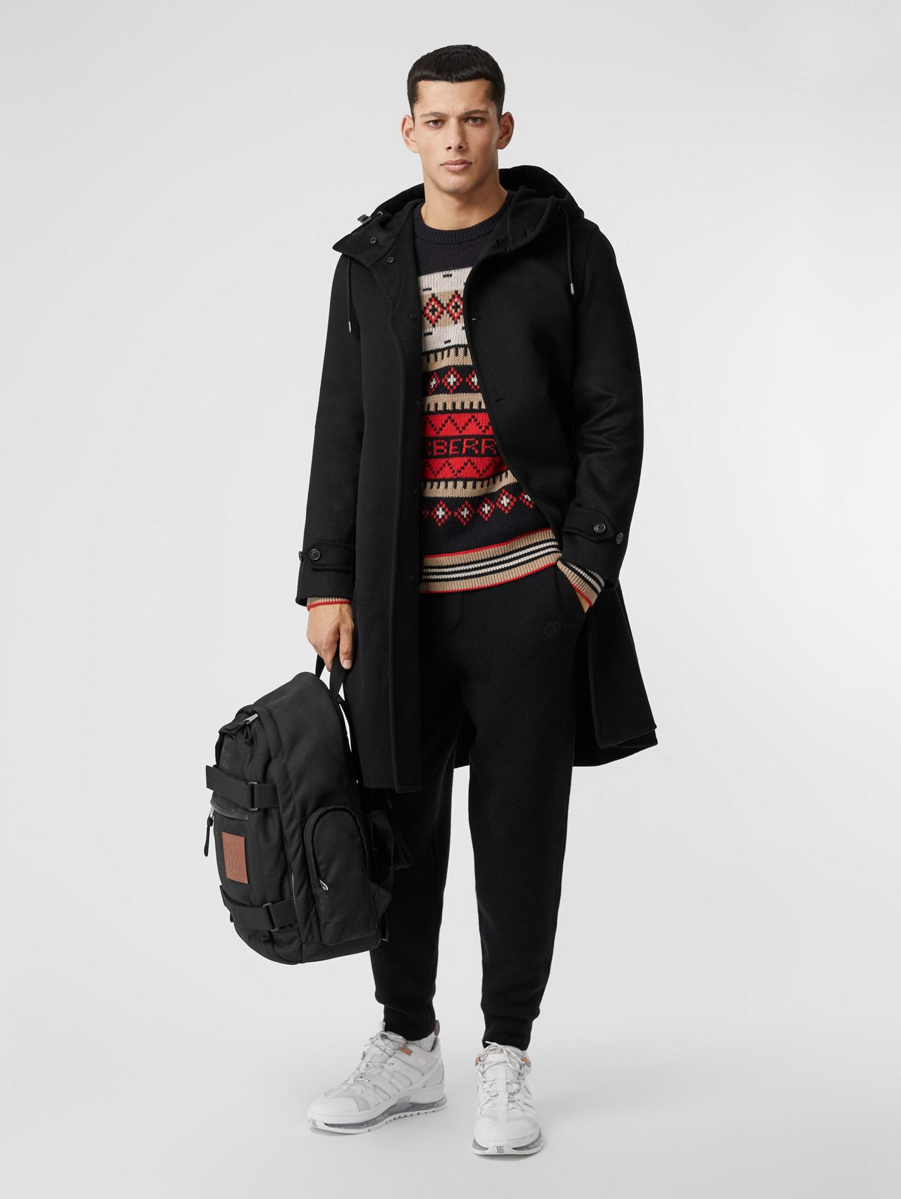 Double-faced Cashmere Hooded Coat in Black