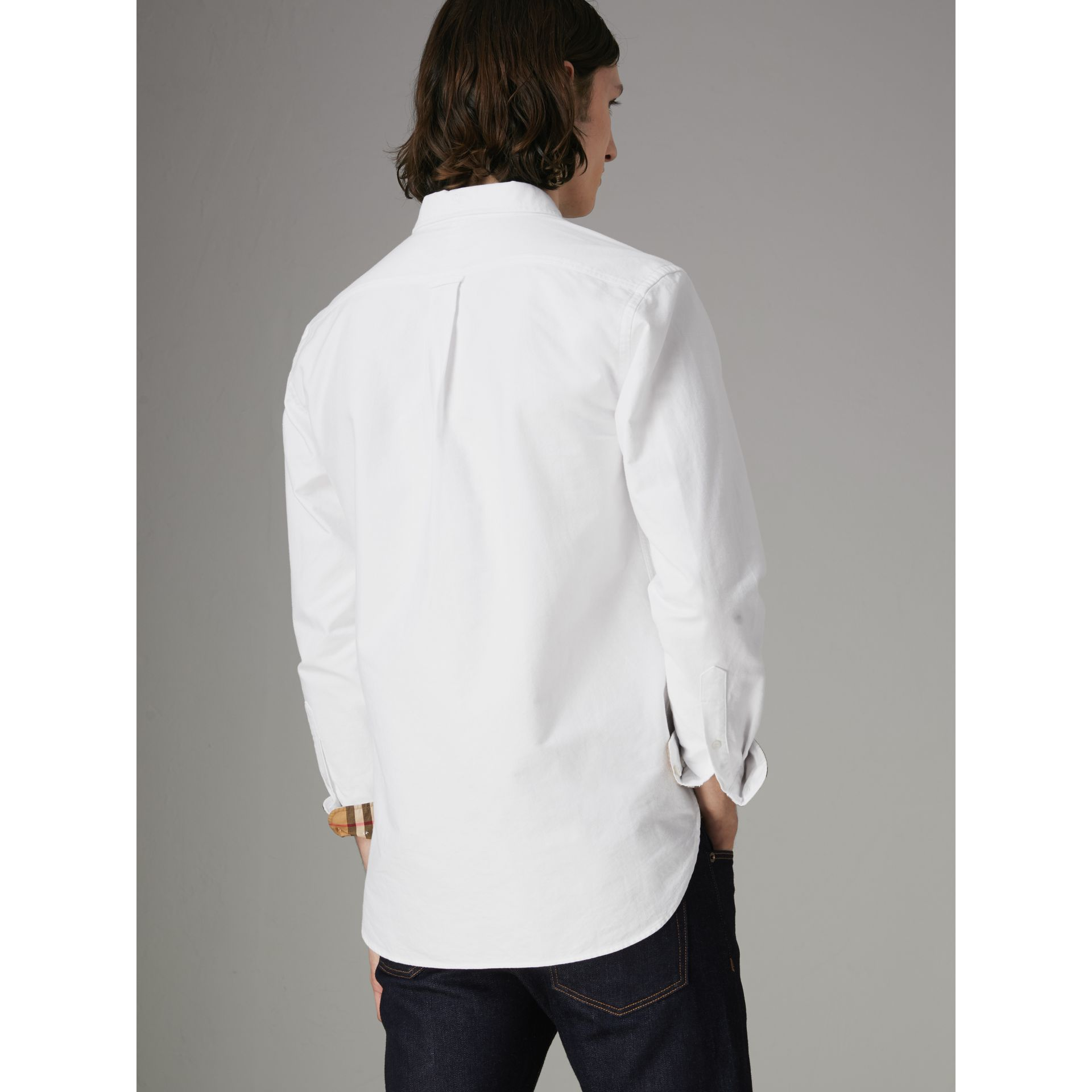 Check Cuff Cotton Oxford Shirt in White - Men | Burberry Australia - gallery image 2