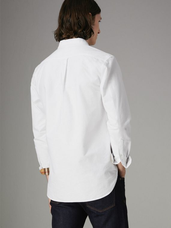 Check Cuff Cotton Oxford Shirt in White - Men | Burberry United Kingdom - cell image 2