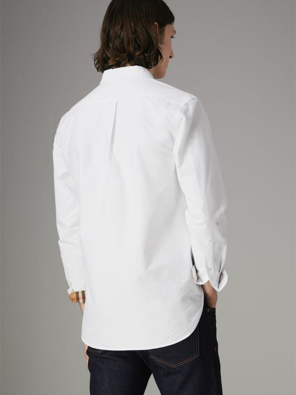 Check Cuff Cotton Oxford Shirt in White - Men | Burberry Australia - cell image 2