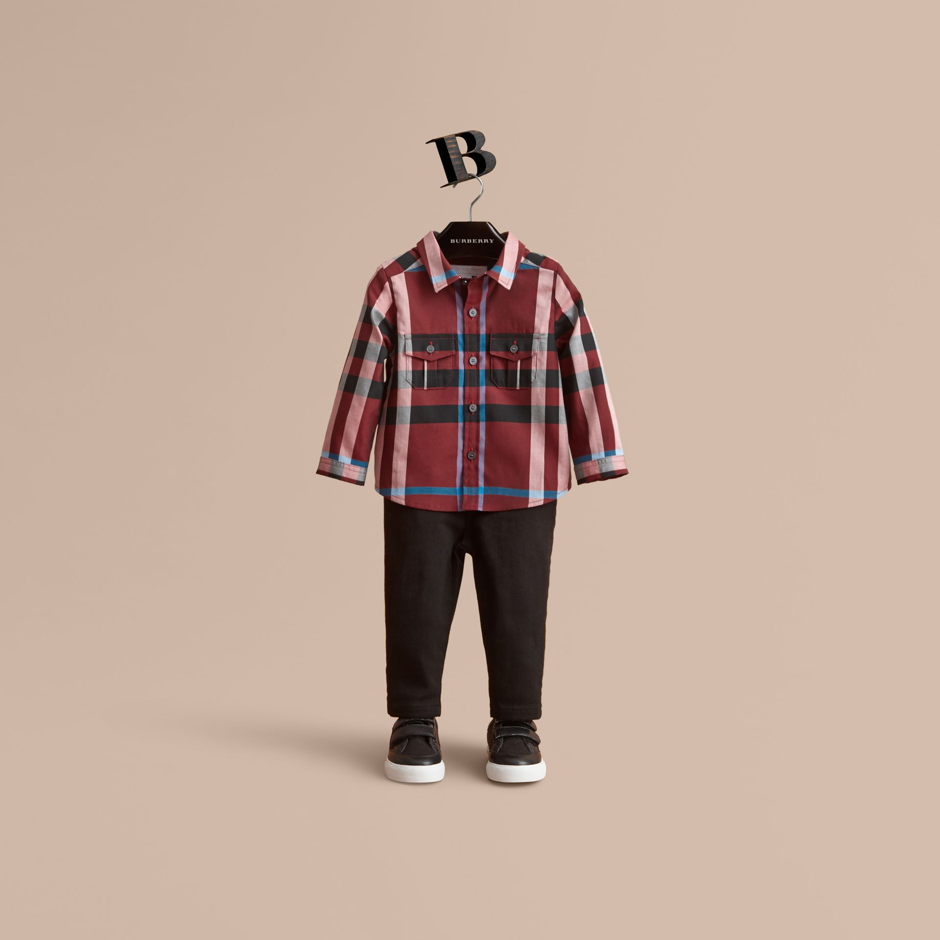 Check Cotton Shirt in Carmine Red | Burberry Canada - gallery image 1