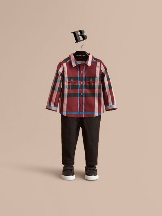 Check Cotton Shirt in Carmine Red