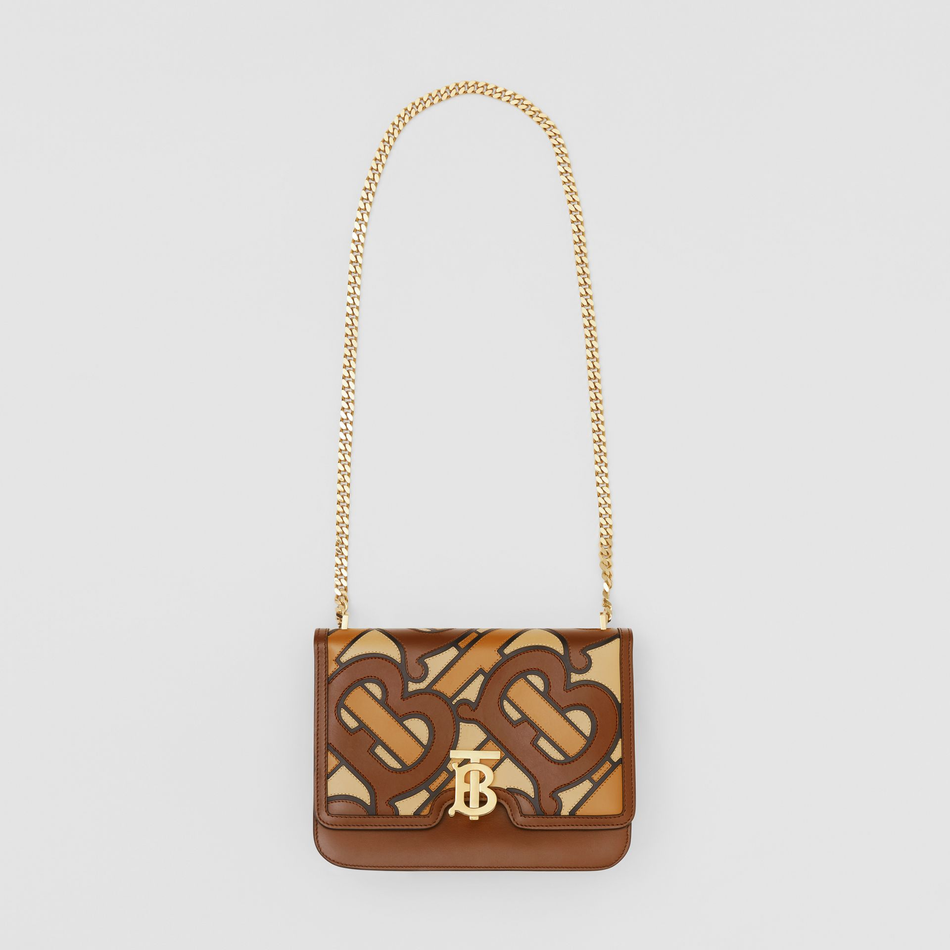 Medium Monogram Appliqué Leather TB Bag in Brown - Women | Burberry - gallery image 3