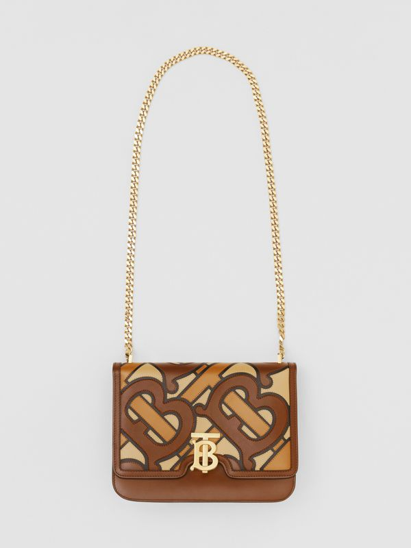 Medium Monogram Appliqué Leather TB Bag in Brown - Women | Burberry Canada - cell image 3