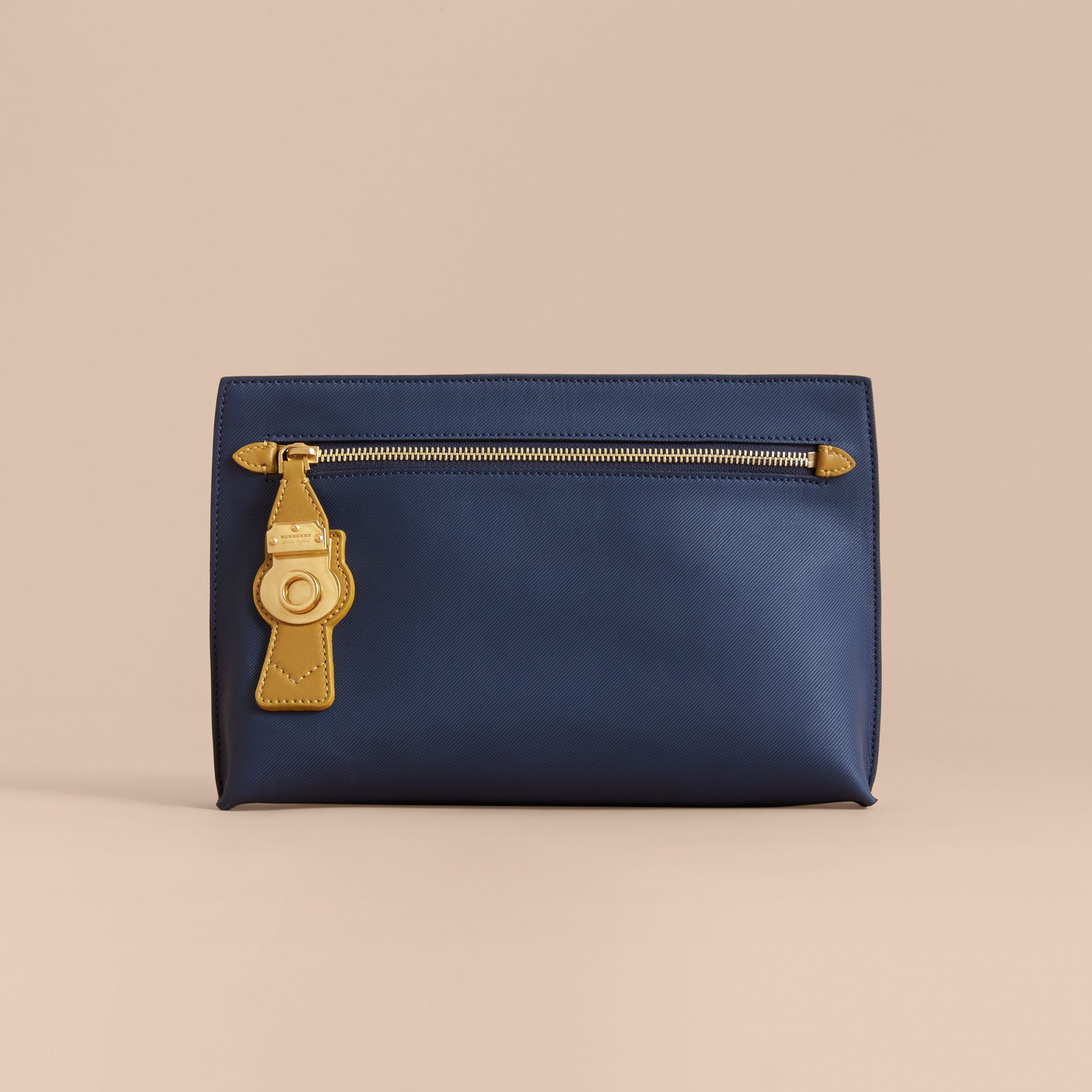 Two-tone Trench Leather Wristlet Pouch Ink Blue/ochre Yellow - gallery image 6