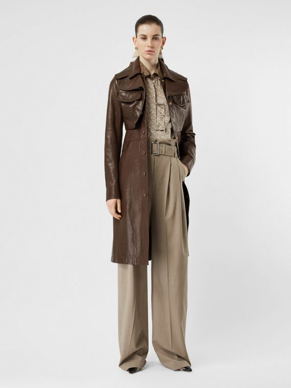 Lambskin Coat with Detachable Cropped Gilet in Dark Brown