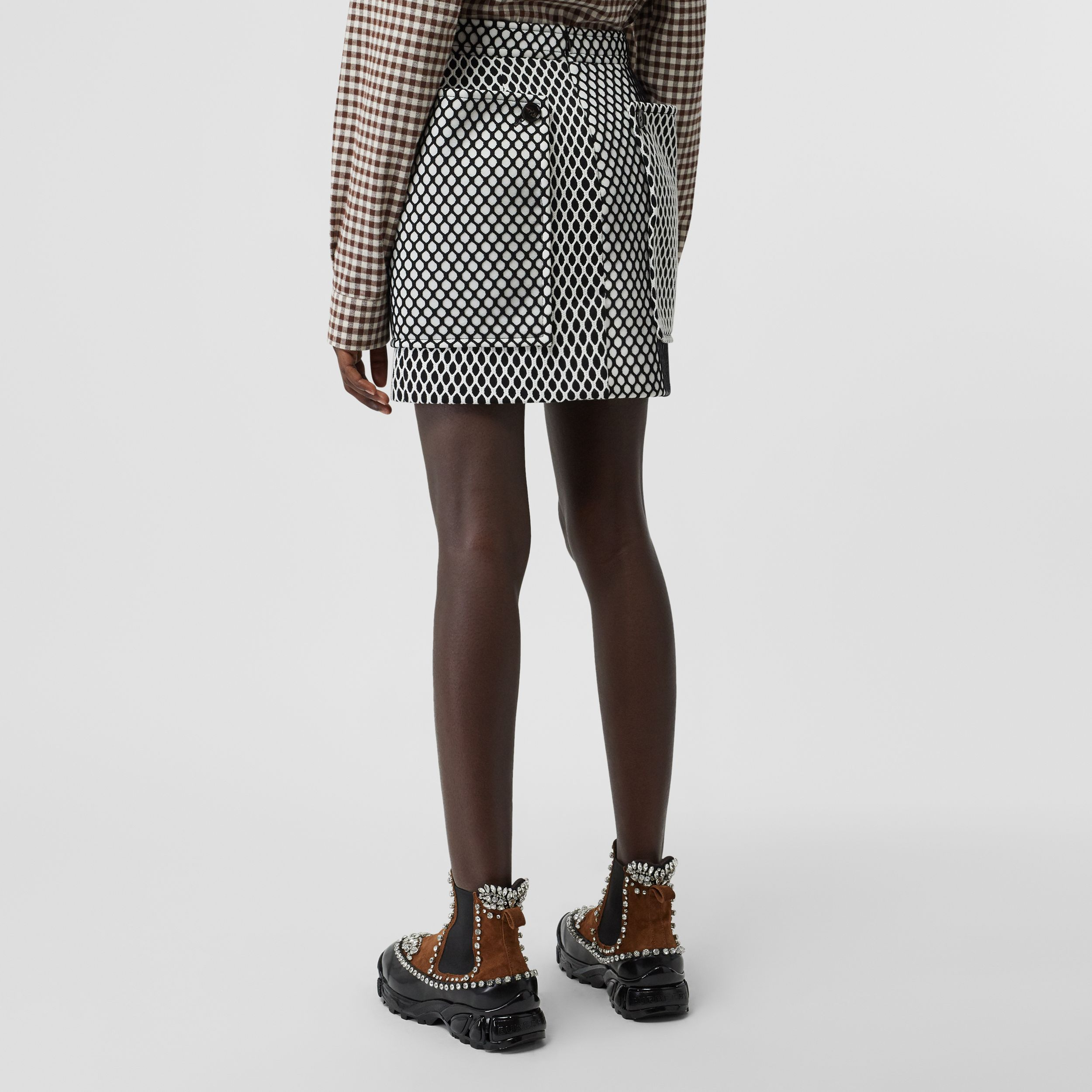 Pocket Detail Mesh and Neoprene Mini Skirt in Black - Women | Burberry - 3