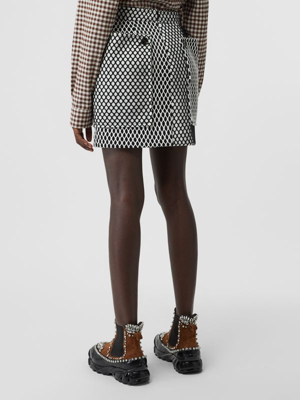 Pocket Detail Mesh and Neoprene Mini Skirt in Black - Women | Burberry - cell image 2