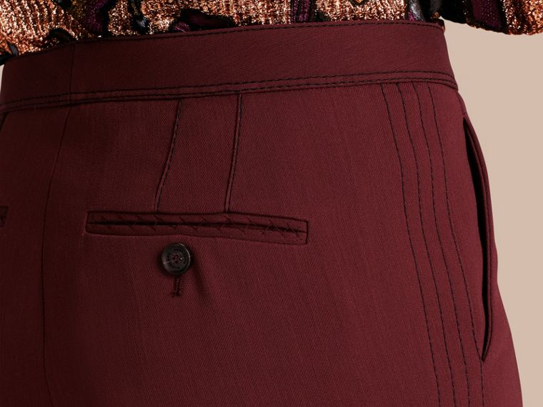 Deep burgundy Cropped Tailored Trousers Deep Burgundy - cell image 4