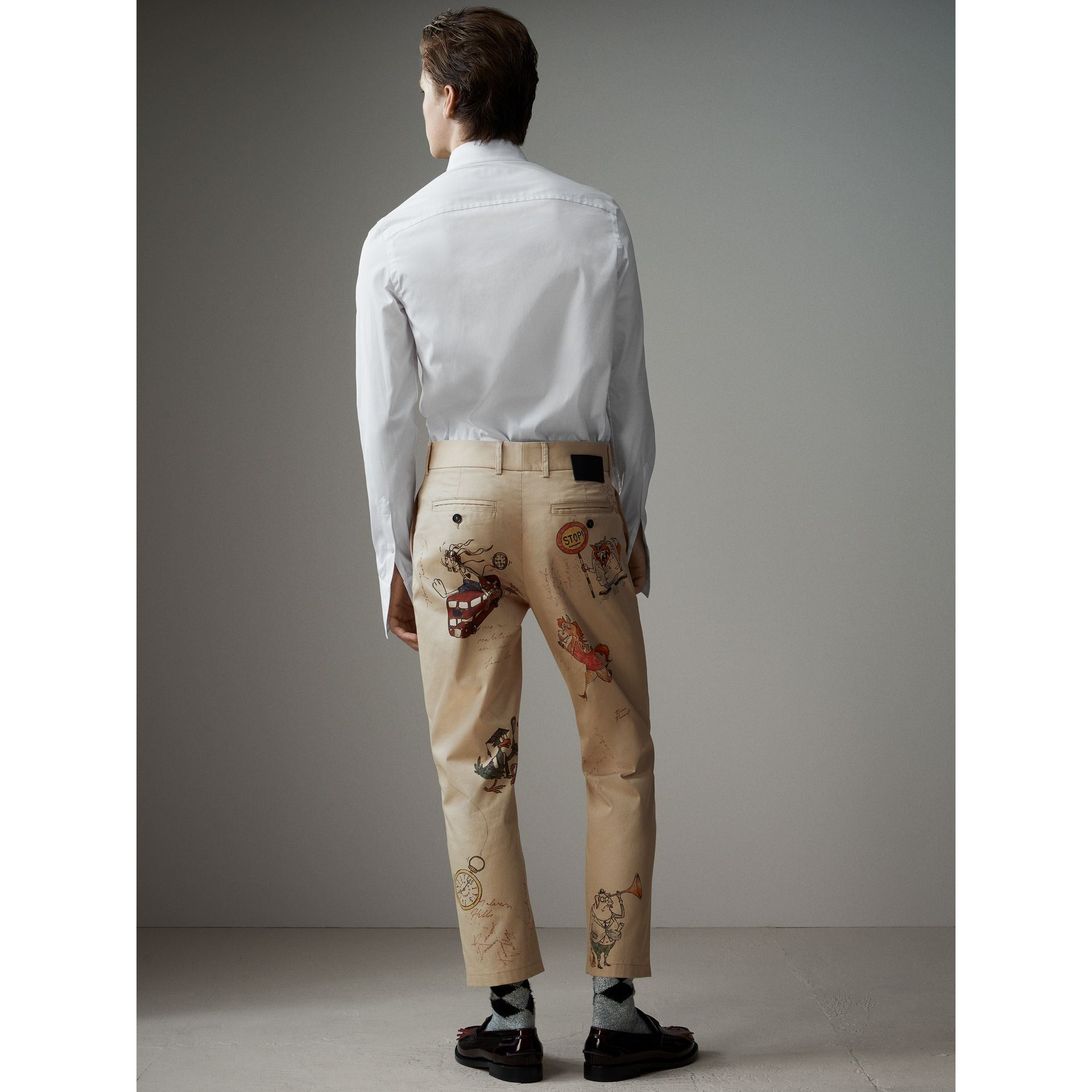 Sketch Print Cotton Cropped Chinos in Sand - Men | Burberry United Kingdom - gallery image 3