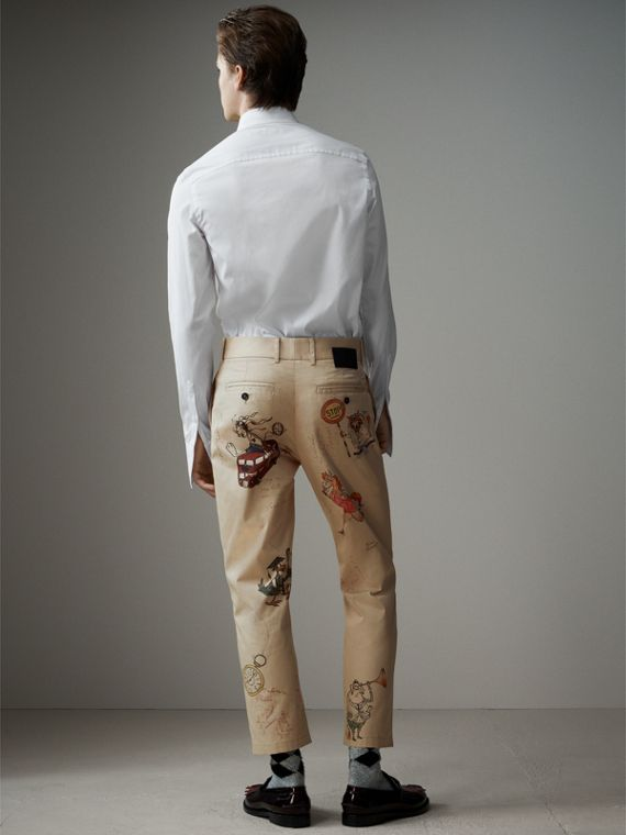 Sketch Print Cotton Cropped Chinos in Sand - Men | Burberry - cell image 2
