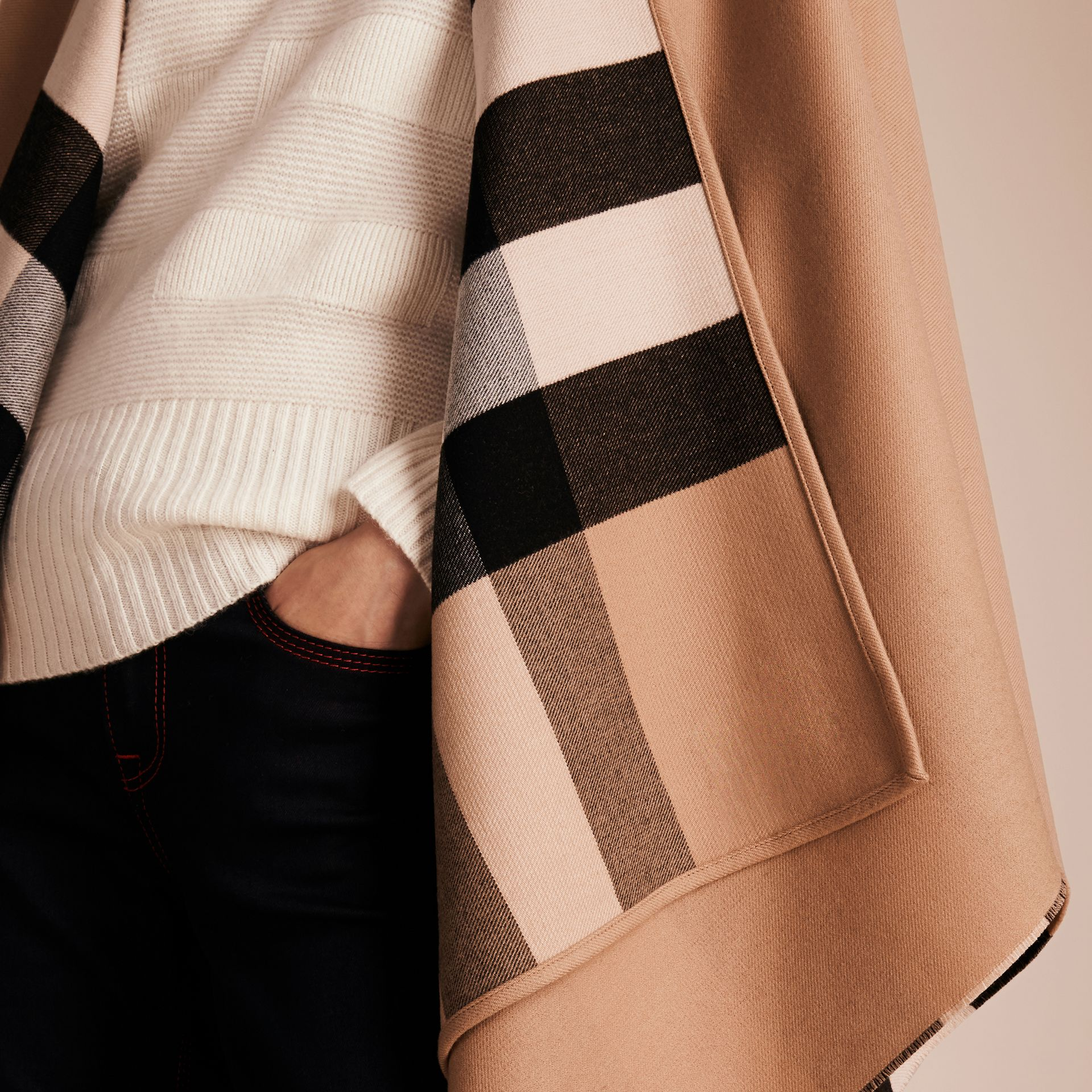 Reversible Check Merino Wool Poncho in Camel - Women | Burberry - gallery image 5