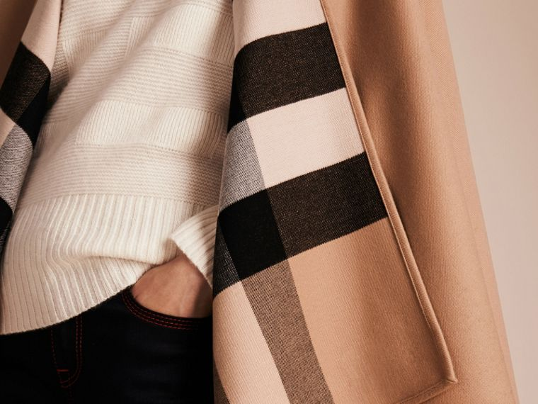 Reversible Check Merino Wool Poncho in Camel - Women | Burberry Canada - cell image 4
