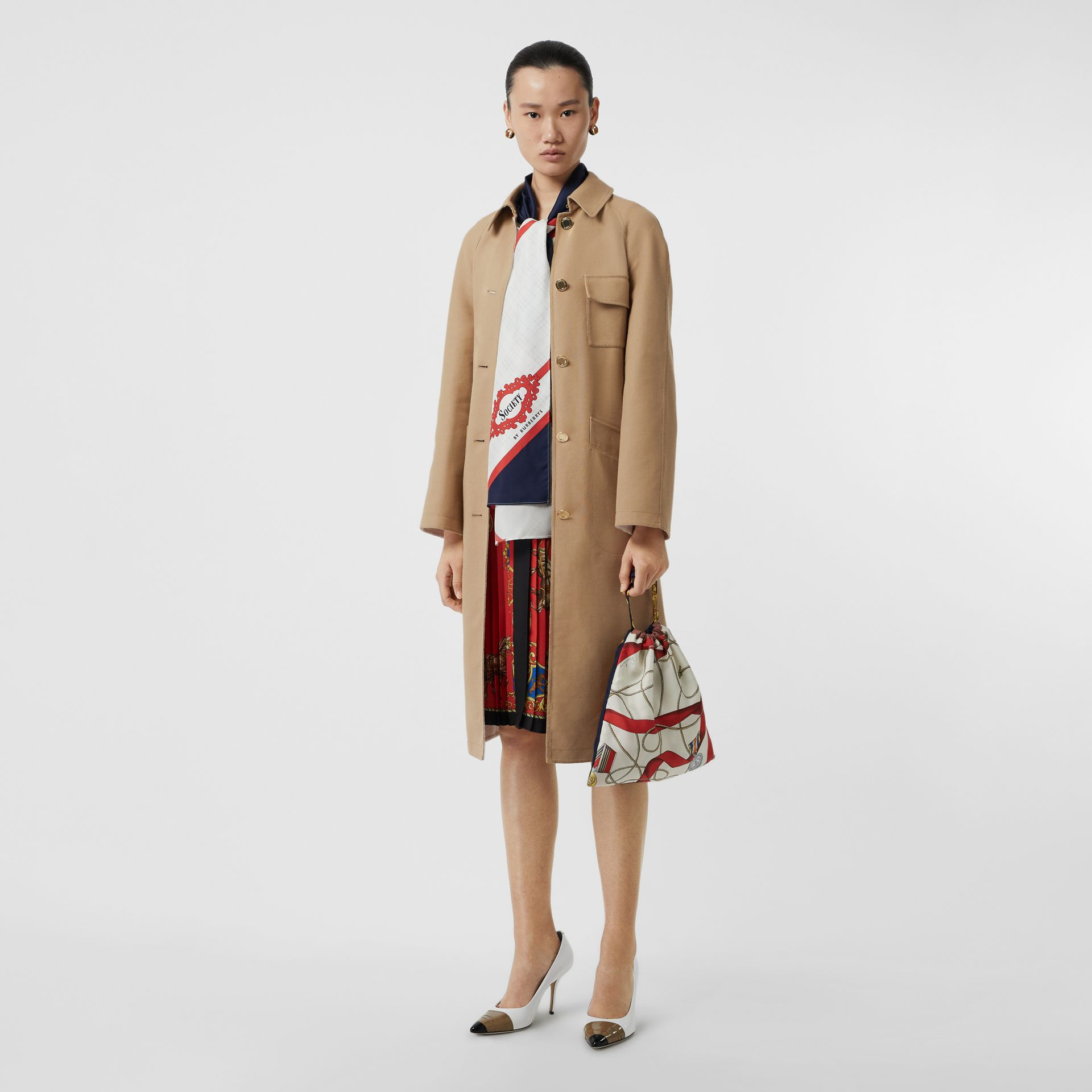 Double-faced Cotton Canvas Car Coat in Honey/white - Women | Burberry - gallery image 0