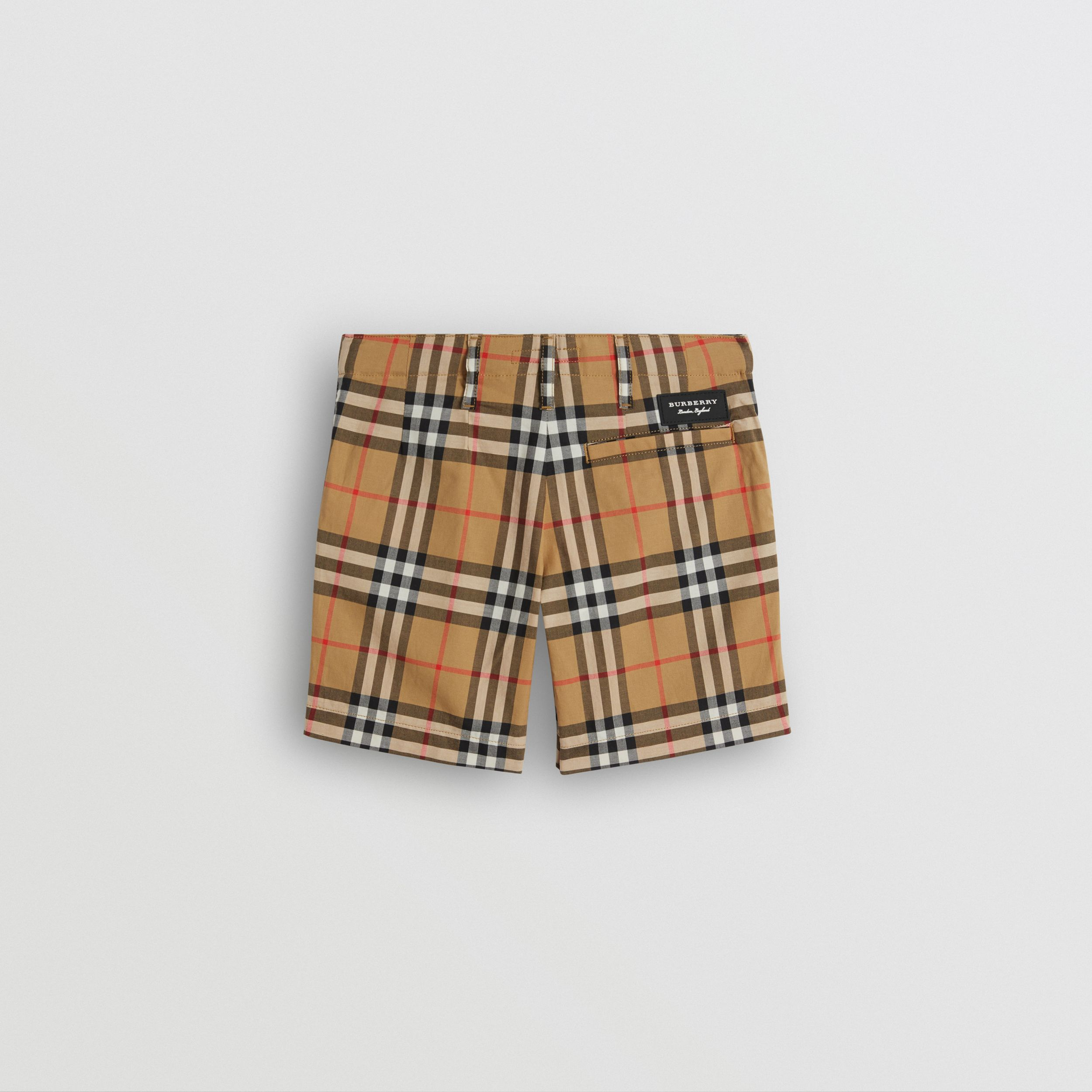 Vintage Check Cotton Tailored Shorts in Antique Yellow | Burberry - 4