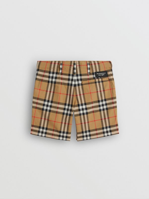 Vintage Check Cotton Tailored Shorts in Antique Yellow | Burberry United States - cell image 3